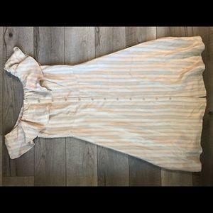 H&M rose gold striped off shoulder dress size 8
